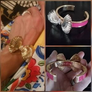 Lilly Pulitzer Bow Cuff Signed Bracelet pink/gold
